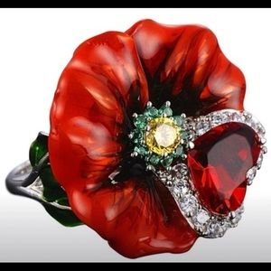 Jewelry - Rose flower ruby ring